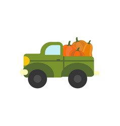 truck with pumpkins vector image vector image