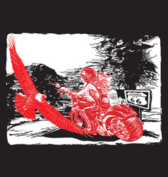 an woman riding motorcycle an hand drawn vector image vector image