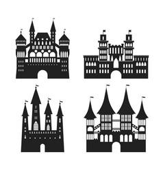 cartoon silhouette black medieval old castles icon vector image vector image