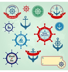 Set of nautical badges and labels logo vector image vector image