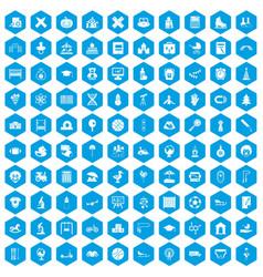 100 kids icons set blue vector image