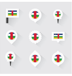 central african republic flag and pins for vector image