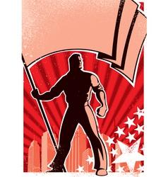 flag bearer poster vector image vector image