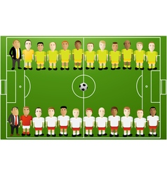 Football background with cartoon players vector image