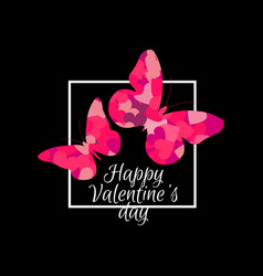 happy valentines day butterflies and frame vector image vector image