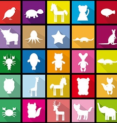 Set silhouettes of animals seamless pattern in vector image