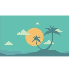 Silhouette of two palm at sunset vector