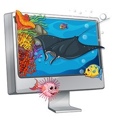 Stingray swimming on computer screen vector image vector image