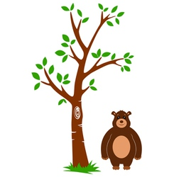 Tree and Bear vector image vector image