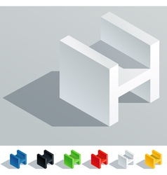 Cube styled monospace characters vector image