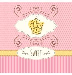 Cupcake hand drawn card vector
