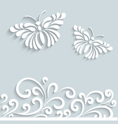 Paper butterfly background vector image