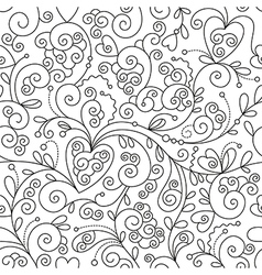 seamless floral pattern black and white drawing vector image