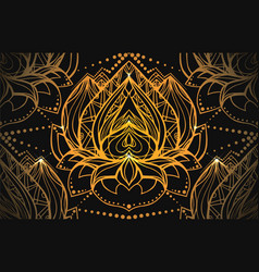 seamless luxury pattern with gold lotus with boho vector image vector image