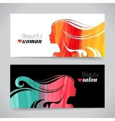 Set of banners with acrylic beautiful girl vector image vector image