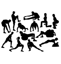 stretching activity silhouette vector image