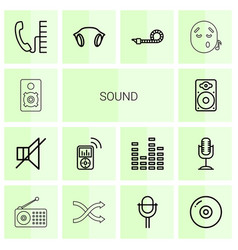 14 sound icons vector image