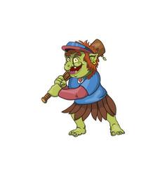 A baseball troll ready to strike vector