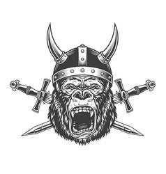 Angry gorilla head in horned viking helmet vector