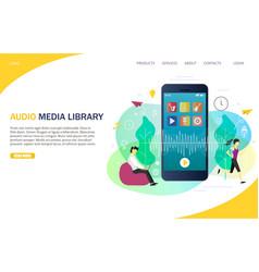 Audio media library landing page website vector