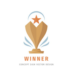 award winner cup - logo template concept vector image