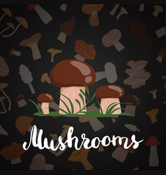background with cartoon mushrooms vector image