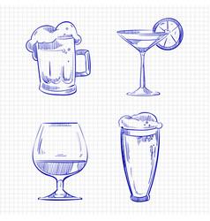 Ballpoint pen sketch drinks vector