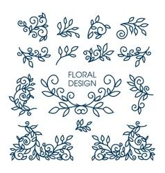 Big set of line floral design elements for vector image