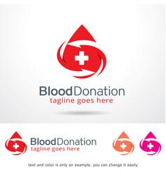 Blood donation logo template vector