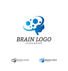 brain with hexagon logo template hexagon with vector image