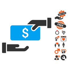 Bribe icon with lovely bonus vector