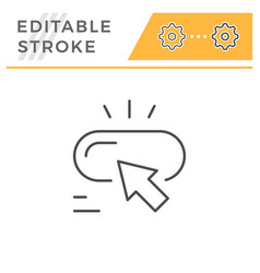 button press editable stroke line icon vector image