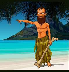 Cartoon wild angry man living on a desert island vector