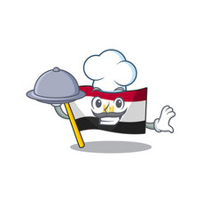 Chef with food flag egypt folded in mascot vector