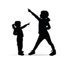 children silhouette happy vector image