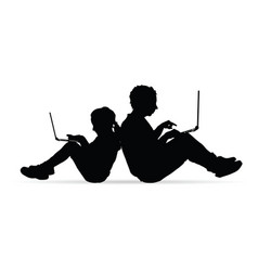 Children silhouette with work on laptop vector