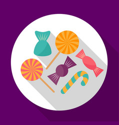 colorful halloween candy flat icon with long vector image