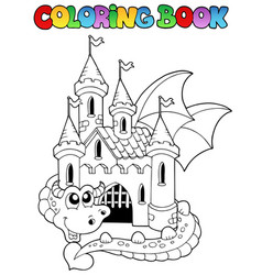 coloring book castle and big dragon vector image