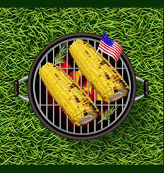 Corn on the grill realistic delicious vector