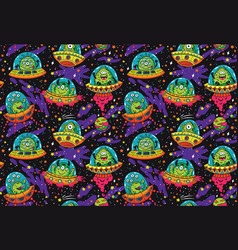 Cute cartoon ufo in the space seamless pattern vector