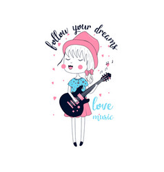 cute girl t-shirt design with slogan vector image