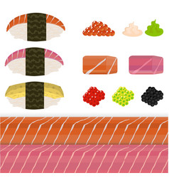 diy set of nigiri sushi vector image