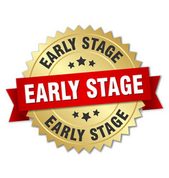 Early stage round isolated gold badge vector