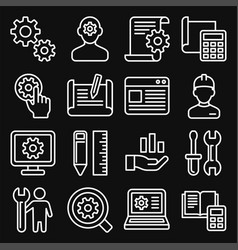 engineering and manufacture icons set on black vector image