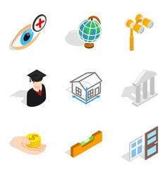 Experimental study icons set isometric style vector