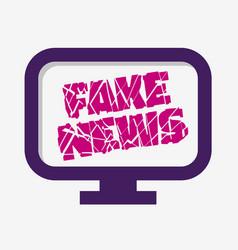 fake news broken design pc monitor screen on a vector image