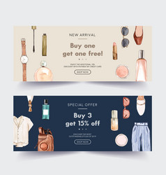 Fashion banner design with cosmetic outfit vector