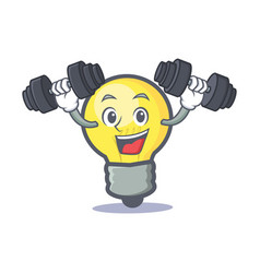 Fitness light bulb character cartoon vector