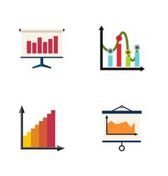 flat icon chart set of monitoring diagram chart vector image