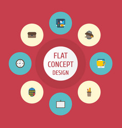 flat icons puncher whiteboard tea and other vector image